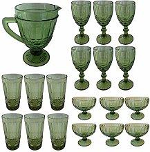 Vintage 19 Teile Set König Weinglas Glas Gläser Weingläser Eisbecher Wasserglas Longdrinkglas Wasserkrug (grün)