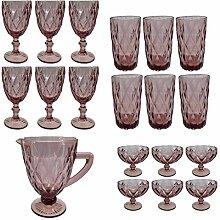 Vintage 19 Teile Set König Weinglas Glas Gläser Weingläser Eisbecher Wasserglas Longdrinkglas Wasserkrug (lila)