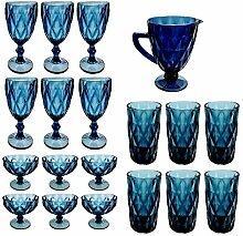 Vintage 19 Teile Set König Weinglas Glas Gläser