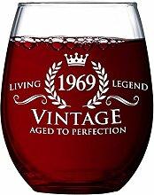 Vintage 1969 Weinglas zum 50. Geburtstag für