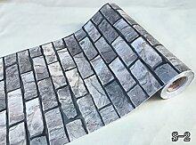 Vintage 3D Brick Stone Muster Tapete schälen und Stick Vinyl Kontakt Papier für Wand Küche Aufkleber Duett Vintage 24 Inches by 16 Feet S-2