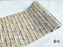 Vintage 3D Brick Stone Muster Tapete schälen und Stick Vinyl Kontakt Papier für Wand Küche Aufkleber Duett Vintage 24 Inches by 16 Feet S-1