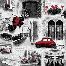 Vintage 3D Tapete Pariser Autos Restaurants