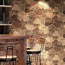 Vintage 3D Tapete Ziegel und Steinmuster Bars