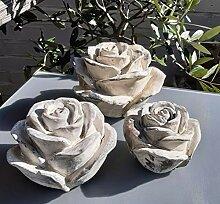Vintage 3er Set Dekokugel Gartenkugel Rose Blume