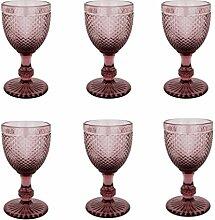 Vintage 6 Teile Set Glasnetz NEU Champagne Trinkglas Glas Gläser Weingläser Wasserglas Longdrinkglas (lila, 6 Stück Weingläser)