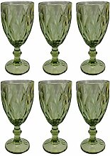 Vintage 6 Teile Set Rombus König Weinglas Glas