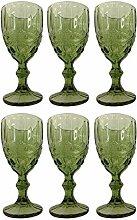 Vintage 6 Teile Set Schleife Weinglas Glas Gläser Weingläser Eisbecher Wasserglas Longdrinkglas Wasserkrug (grün)