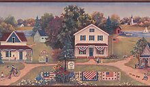 Vintage American Landschaft Tapete Grenze für Küche Badezimmer Wohnzimmer, Rolle 15'x 20,3cm
