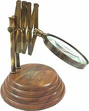 Vintage Antik Stil Messing Glas Lupe Schreibtisch