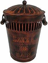 Vintage Badezimmer Mülleimer mit Dekel aus Metall Griff aus Holz
