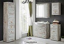 """Vintage Badmöbel-Set """"Proswana"""" in Top Qualität. Komplettset besteht aus Spiegel-Schrank, Regal & 4 Schränke + Waschbecken 85 cm. Stabiles Badezimmer-Möbel aus laminiertem Holz in Kiefer Optik weiß"""