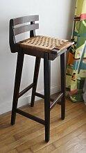 Vintage Barhocker aus Holz & geflochtener