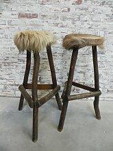 Vintage Barhocker mit Bezug aus Rindsleder,
