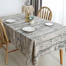 Vintage Baumwollleinen Tischdecke Holzoptik