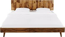 Vintage-Bett aus massivem Sheesham-Holz, 180x200