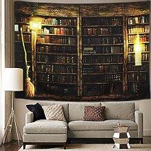 Vintage Bibliothek Bücherregal Wandteppich