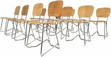 Vintage Birkenholz & Aluminium Stühle von Armin