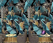 Vintage Blue Gold tropische Pflanze Bananenblatt