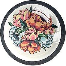Vintage Blumenstrauß, 4Pack ABS Kommode Knöpfe