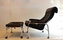 Vintage Bore Leder Sessel mit Fußhocker von