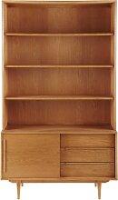 Vintage Bücherregal aus massiver Eiche mit 3