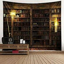 Vintage Bücherregal Wandbehang – Study Room