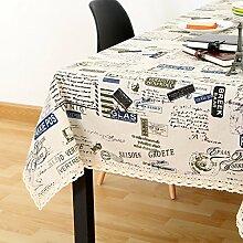 Vintage cotton leinen tischtuch/garten frische tischdecken/einfaches europäisches lace tuch tisch tuch-H 140x220cm(55x87inch)