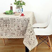 Vintage cotton leinen tischtuch/garten frische tischdecken/einfaches europäisches lace tuch tisch tuch-G 140x140cm(55x55inch)