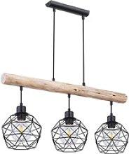 Vintage Decken Lampe dimmbar Fernbedienung Holz