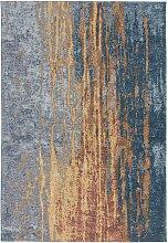Vintage Design Teppich in Blau und Beige Kurzflor