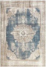 Vintage Design Teppich in Blau und Creme Weiß