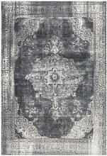 Vintage Design Teppich in Grau Kurzflor