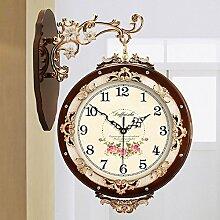 Vintage doppel sided wall clock,Europäisch Massivholz Kreativ Großes wohnzimmer clock Mute wall uhren auf beiden seiten Einfache uhr tisch-C