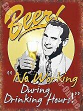 Vintage Drink, 86Bier keine Arbeiten, Funny, Alten Pub Bar Ale Wandschild aus Metall/Stahl, stahl, 30 x 40 cm