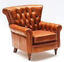 Vintage Echtleder Chesterfield Ledersessel Braun Design Lounge Ohrensessel Leder Club Sessel 549