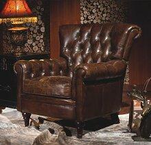 Vintage Echtleder Chesterfield Ledersessel Braun Design Lounge Ohrensessel Leder Club Sessel 449