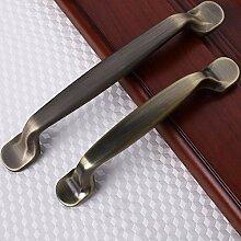 Vintage Einfache Bronze Metall Türgriffe für Schrank Kleiderschrank Schrank Schublade ziehen Knöpfe Home Zubehör, 128 mm