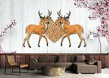 Vintage Elk Plank Tapete Vlies Tapete 3D-Effekt