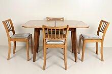 Vintage Esstisch und 4 Stühle aus Eiche