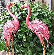 Vintage Flamingo 2er Set Gartenfigur Metall Figur