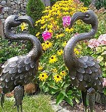 Vintage Flamingo 2er Set Gartenfigur Metall