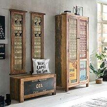 Vintage Garderobe aus Recyclingholz Braun und Bunt
