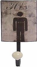 Vintage Garderobenhaken Metall für IHN Aufschrift HIS Haken Handtuch Bad Büro
