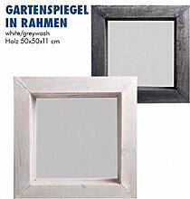 Vintage Garten Spiegel Holz in Rahmenspiegel White/Greywash 50 x 50 8,5 cm (Weiß)