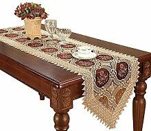 Vintage Gold Burgund Spitzen-Tischläufer und