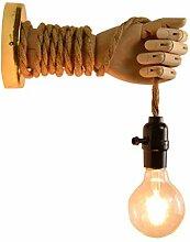 Vintage Hanfseil Wandleuchte, Kreative Holz Hand