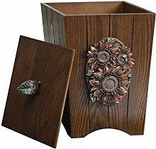Vintage-Holz-Mülleimer mit Deckel und