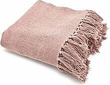 Vintage II Tagesdecke 170 x 130 cm Baumwolle Decke Wolldecke Sofadecke Fransen (rosa)