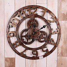 Vintage Industrial Wind getragen bar Persönlichkeit e Wandbild der Gang der dekorativen Wand Uhren Wanduhren,F